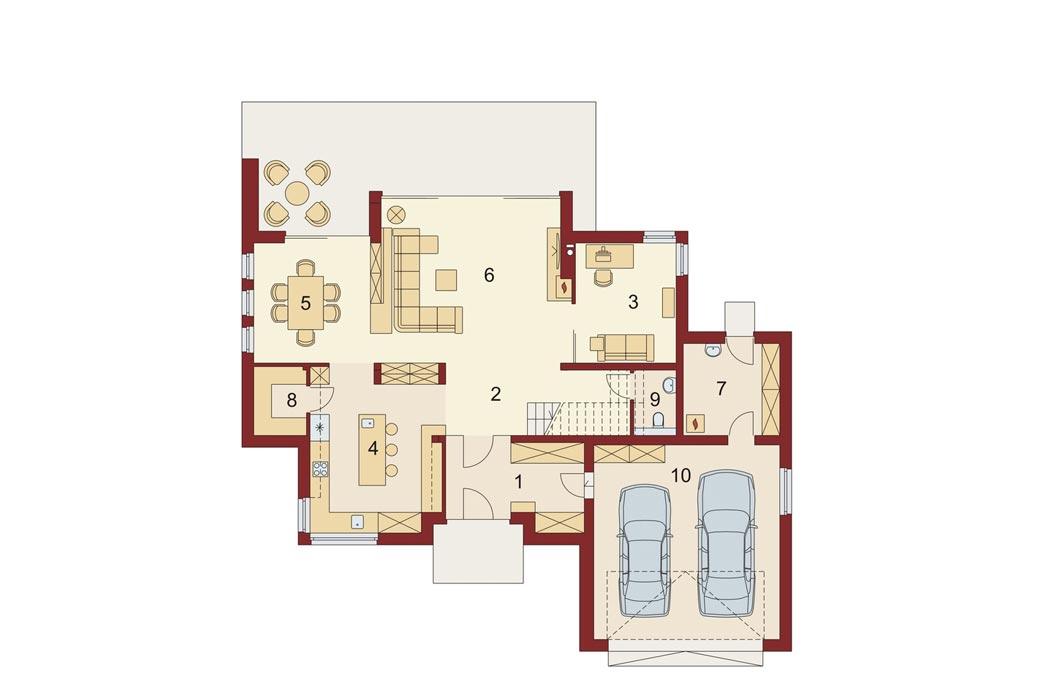План одноэтажного дома 278м2, первый этаж