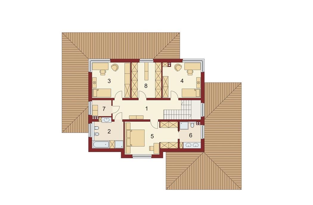 План одноэтажного дома 278м2, мансардный этаж