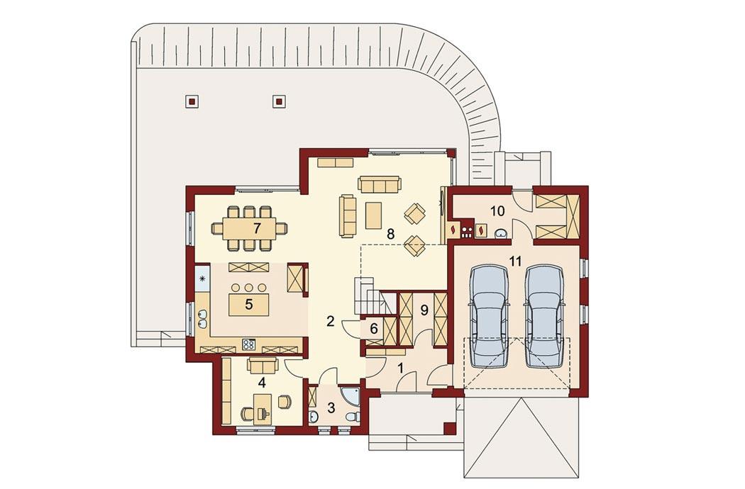 Проект одноэтажного дома 298 м2, первый этаж