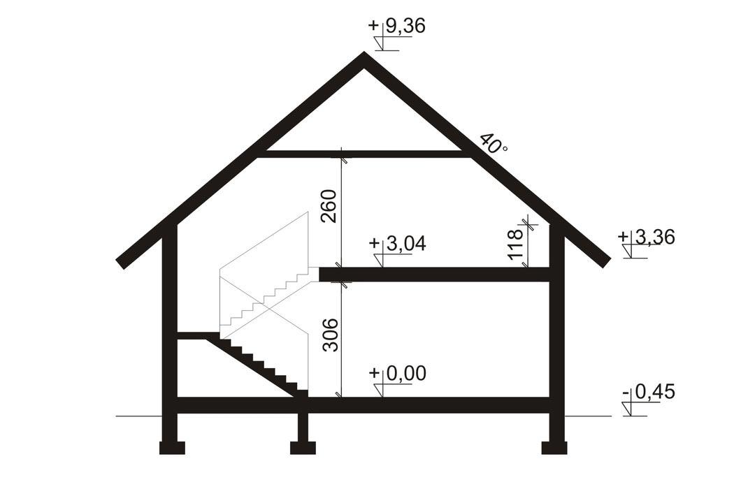 Проект одноэтажного дома 298 м2, вид сбоку