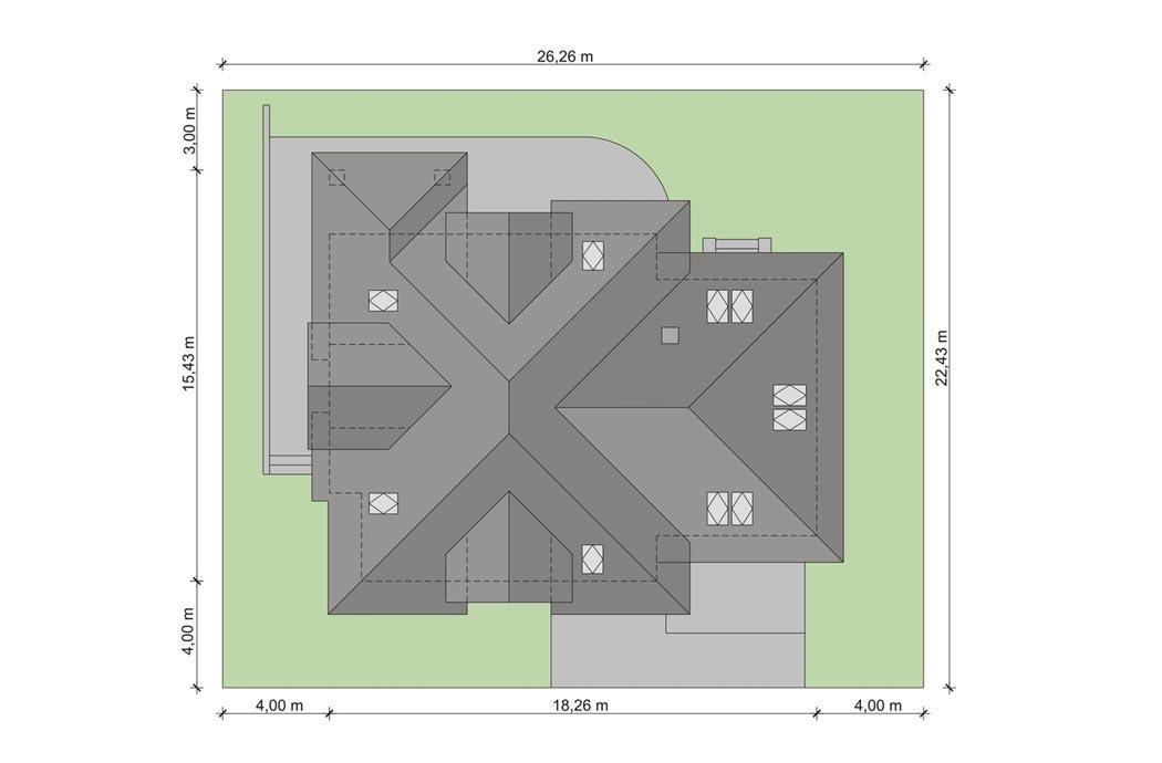 Проект одноэтажного дома 298 м2, вид сверху