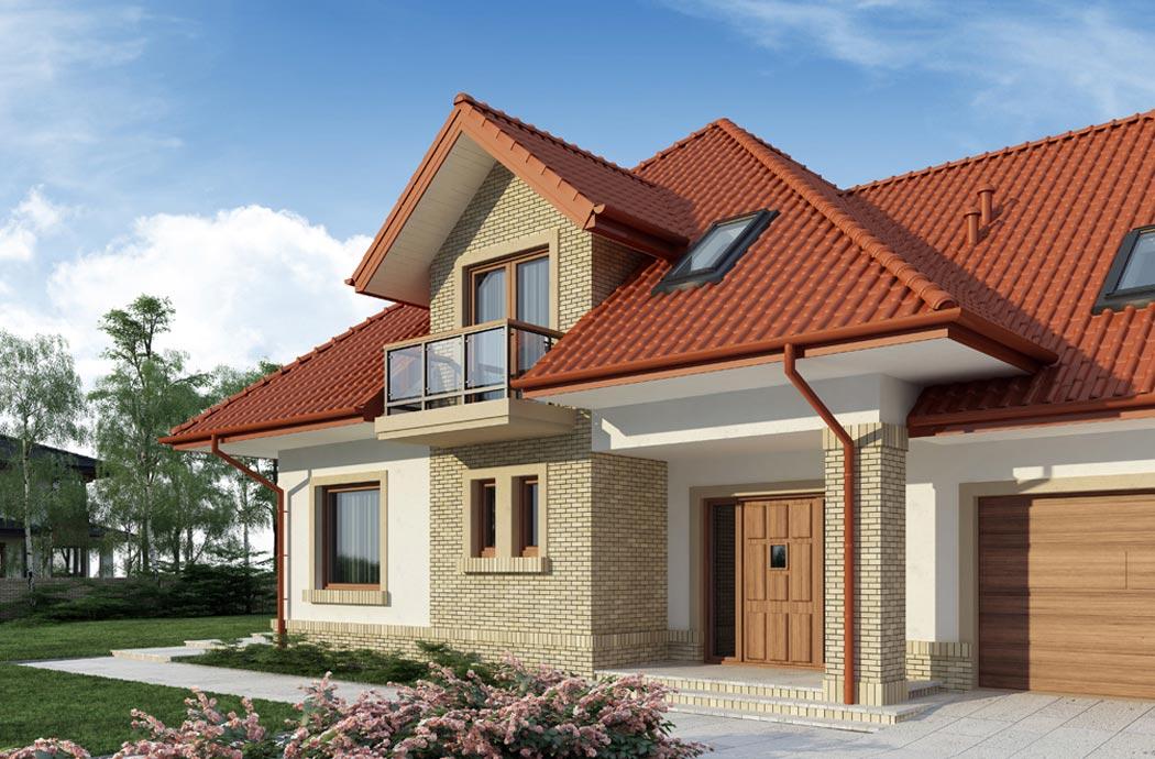 Дизайн одноэтажного дома 298 м2, вид на гараж