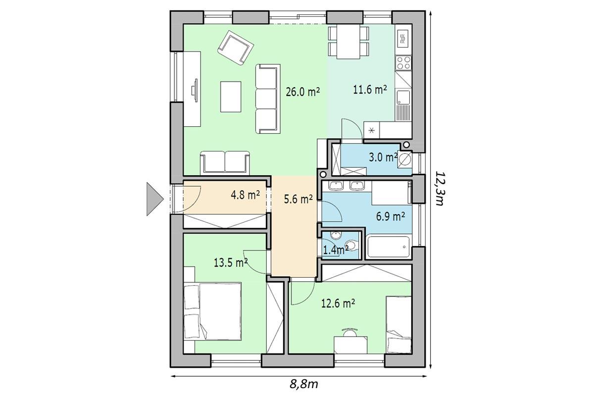 План 1 этажного дома 85м2 вид общий план
