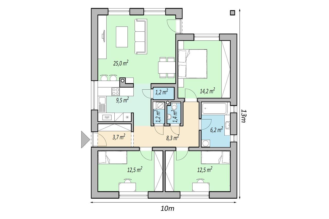 План одноэтажного дома 96м2 К-19672 общий вид