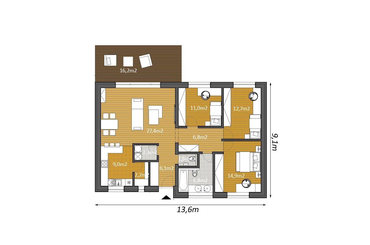 План одноэтажного дома 101м2 К-1101757 общий вид