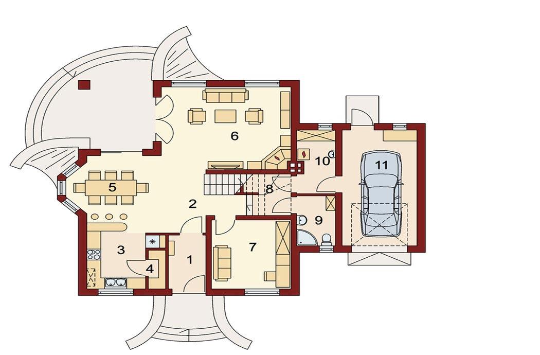 Проект дома 214м2, вид сверху