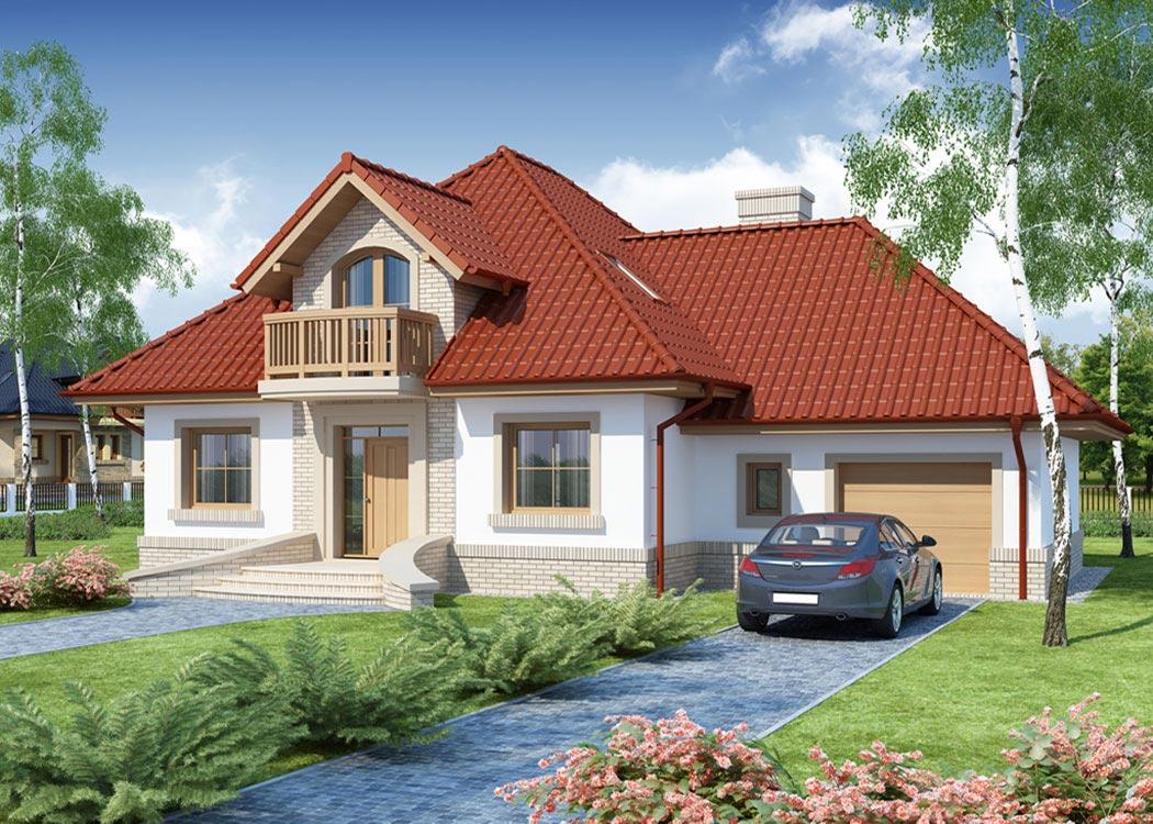 Дизайн дома 214м2, визуализация, вид спереди