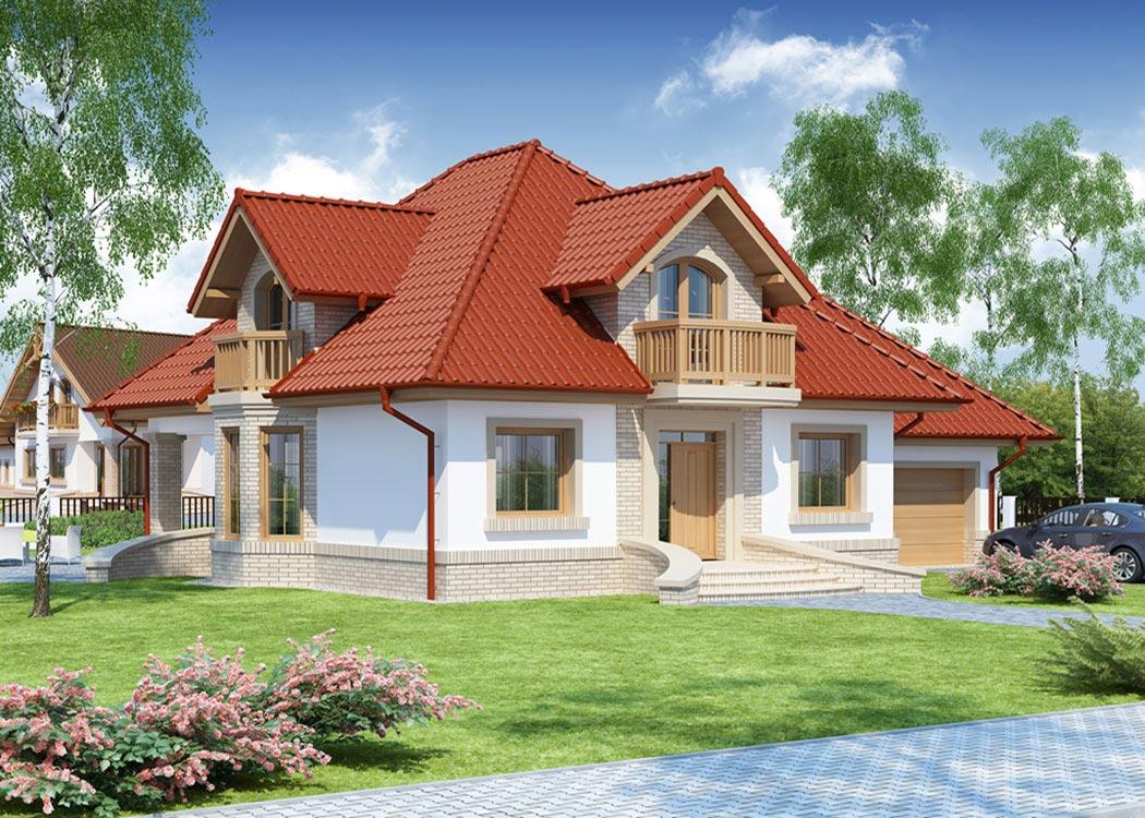 Дизайн дома 214м2, визуализация, вид сбоку