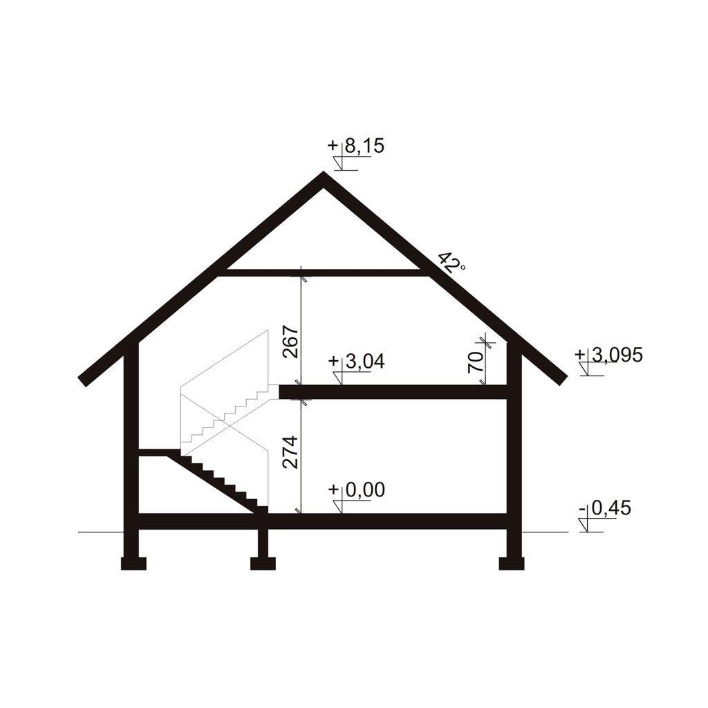 Проект дома 214м2, вид сбоку