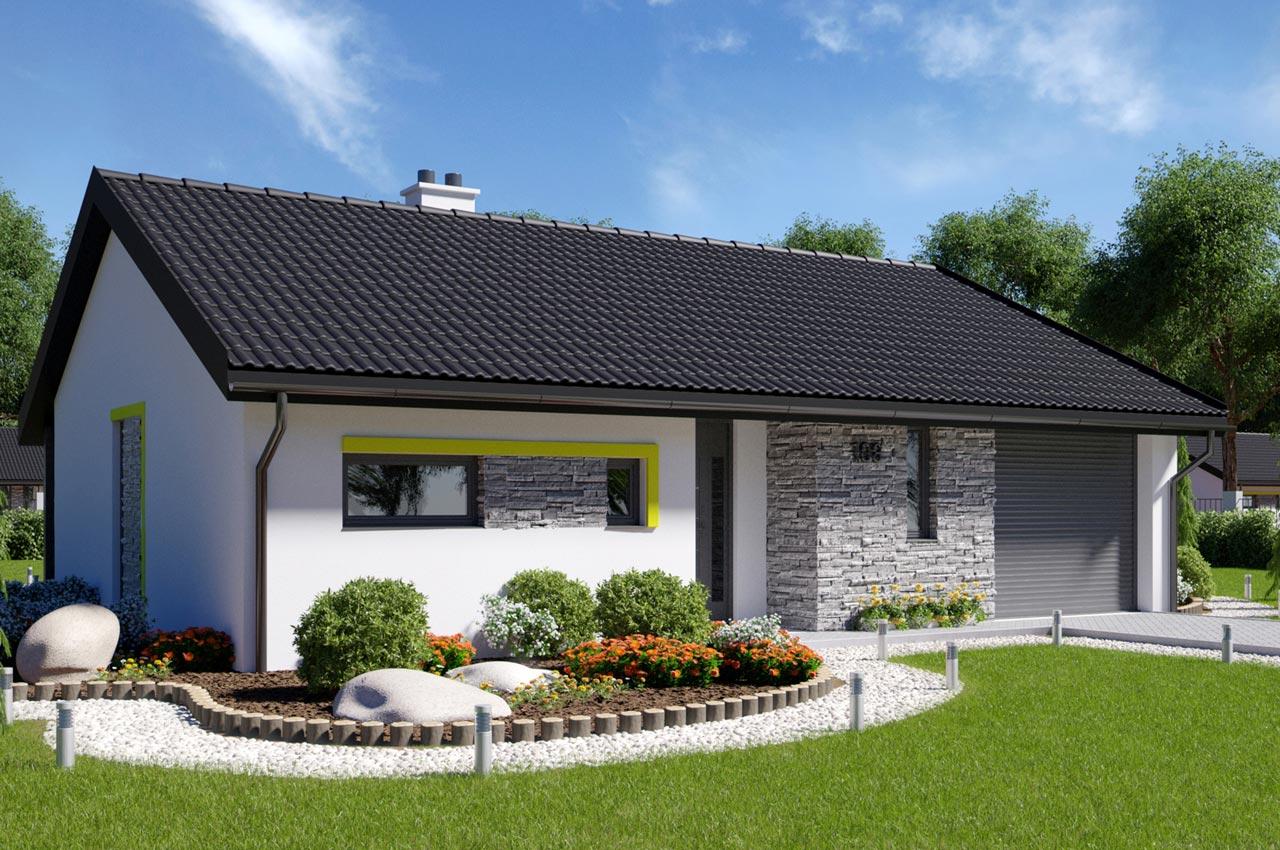 Проект одноэтажного дома 108м2 с гаражом вид сбоку