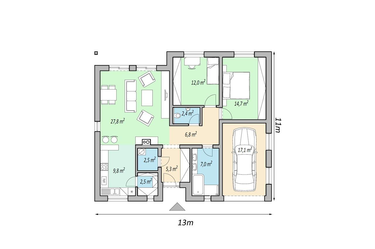 Проект одноэтажного дома 108м2 с гаражом чертеж