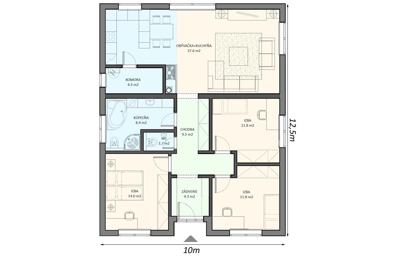 Проект 1 этажного дома 104м2 К-1104780 чертеж