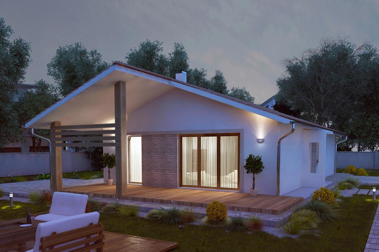 Проект одноэтажного дома 101м2 К-11017575 вид сзади вечером