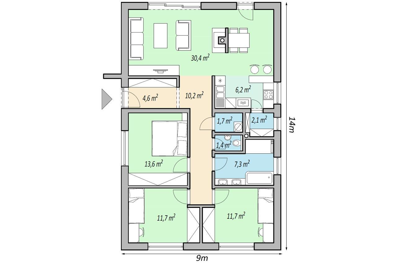 План одноэтажного дома 101м2 К-11017575 1