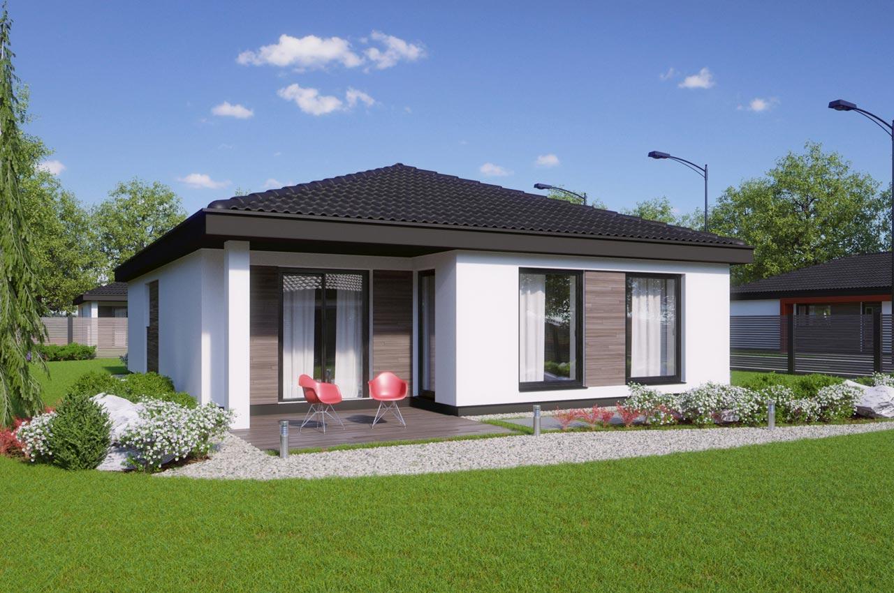 Проект одноэтажного дома 96м2 К-19672 вид сзади