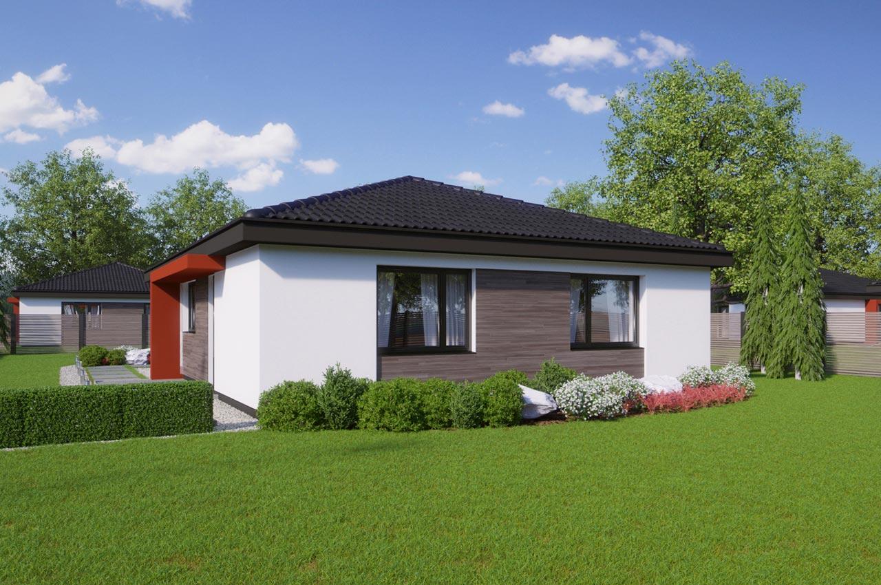 Проект одноэтажного дома 96м2 К-19672 вид слева