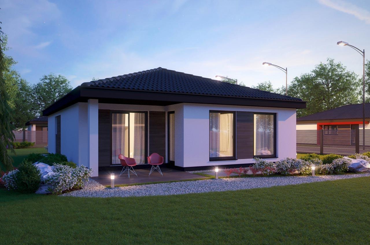 Проект одноэтажного дома 96м2 К-19672 вид сзади вечерний