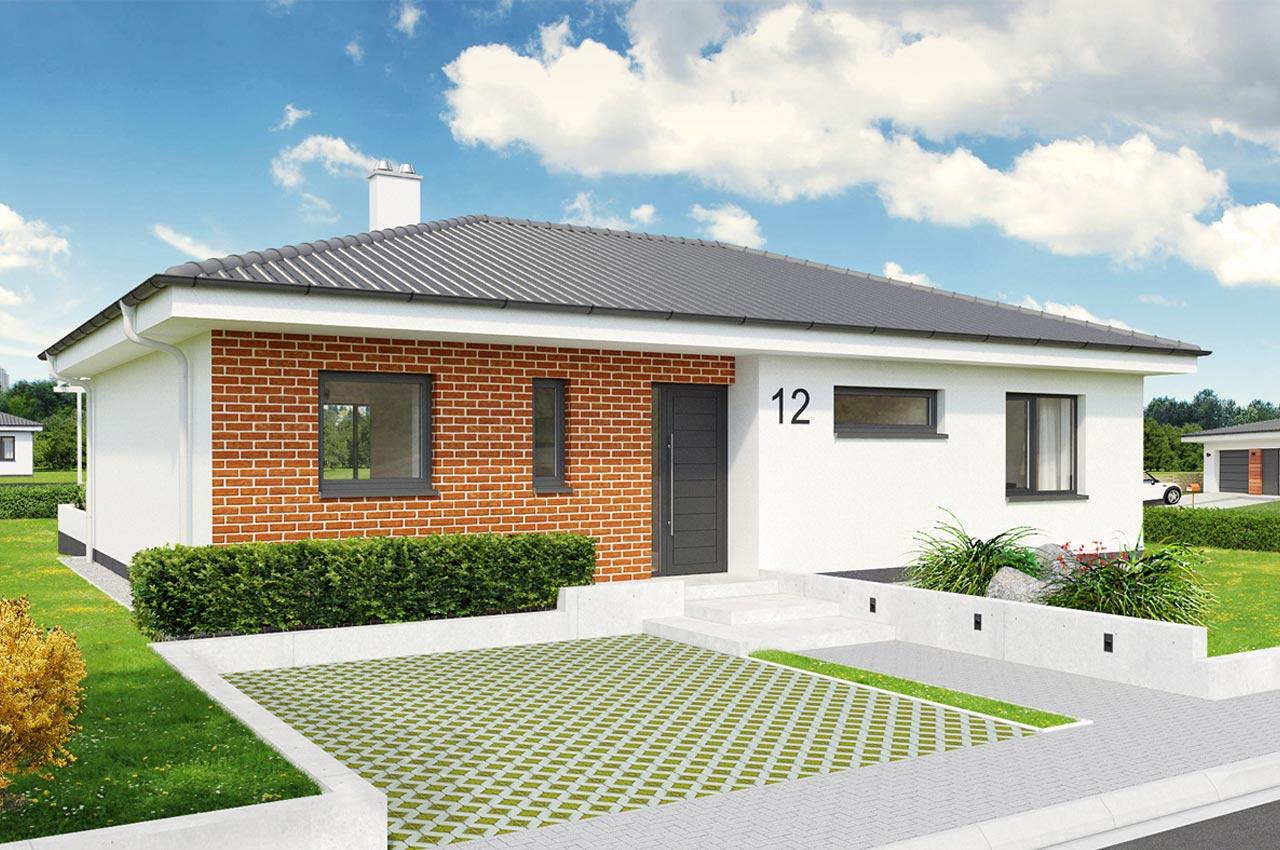 Проект одноэтажного дома 101м2 К-1101757 вид спереди