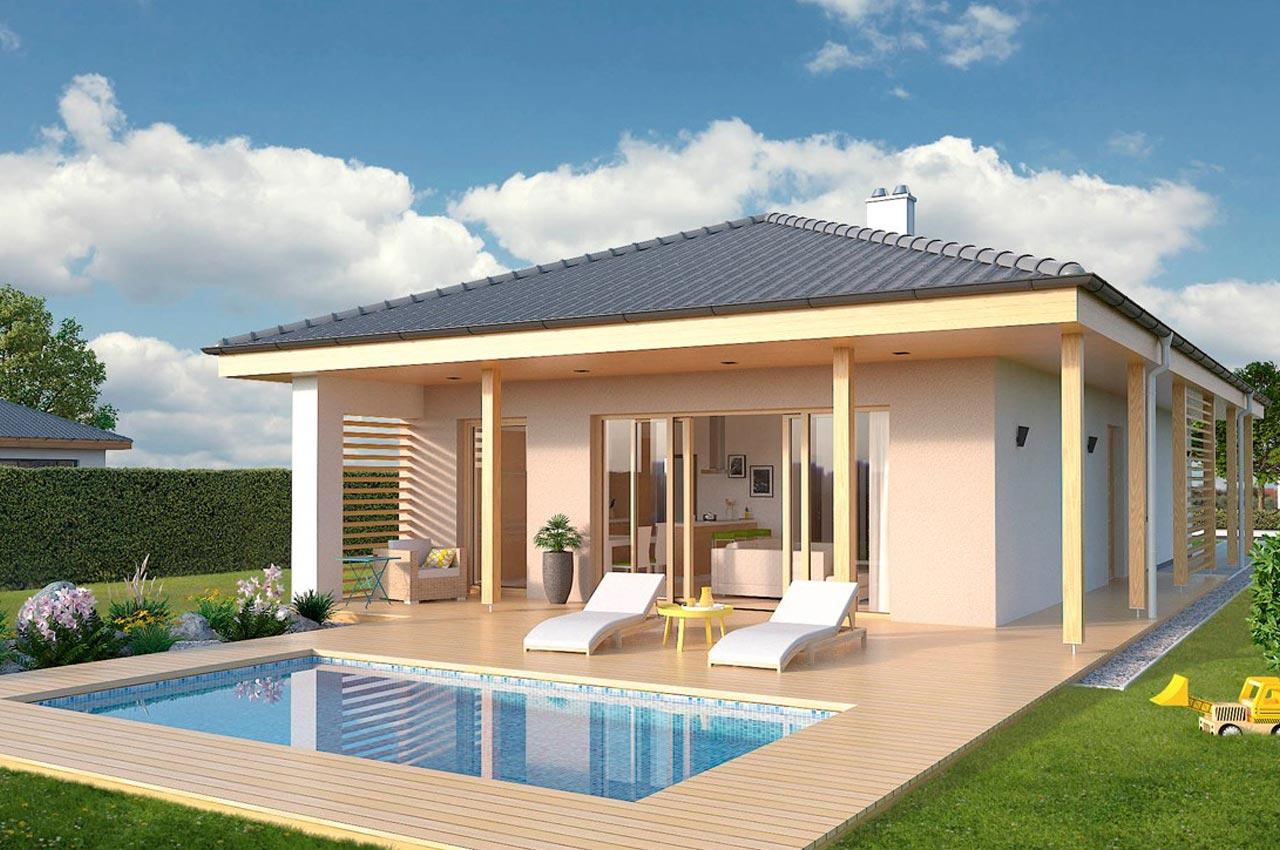 Проект одноэтажного дома 107м2 К-1107802 вид сзади
