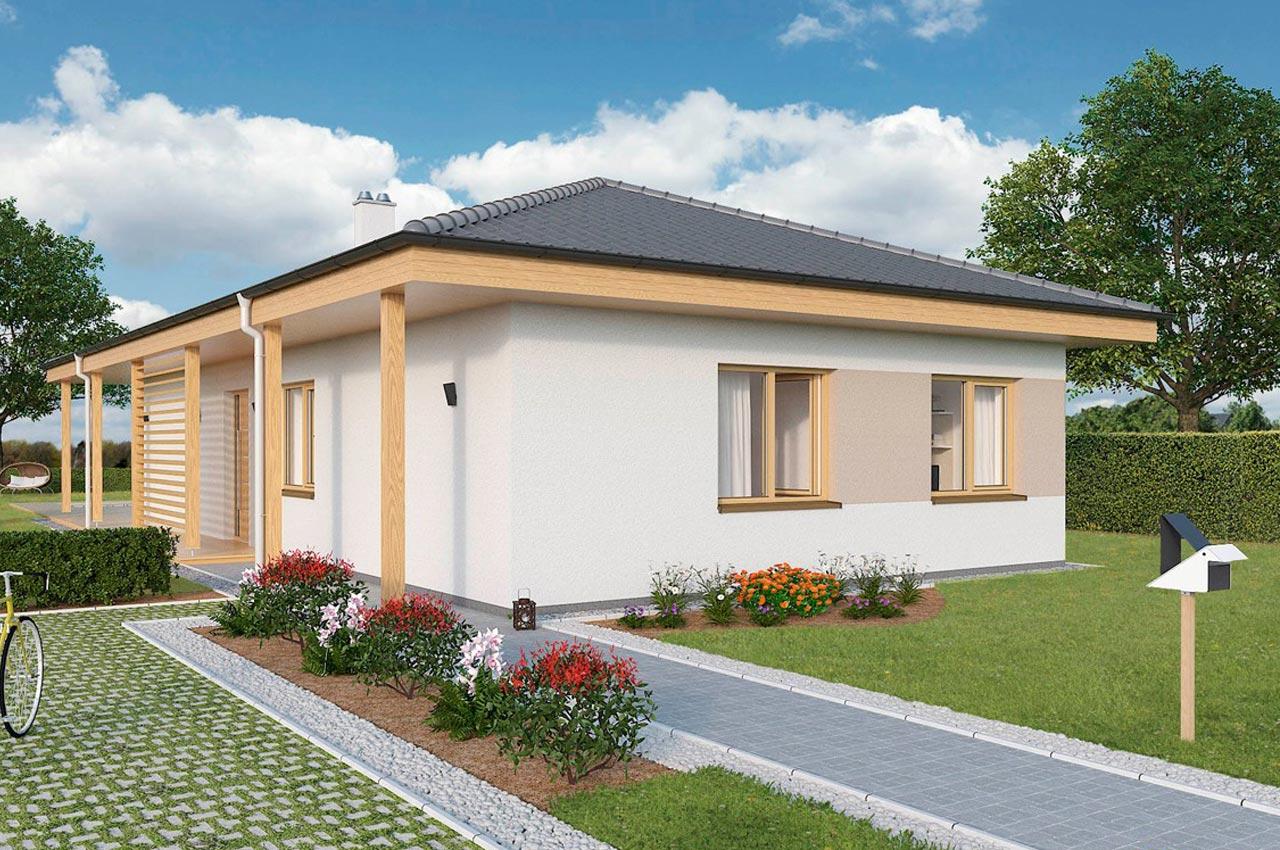 Проект одноэтажного дома 107м2 К-1107802 вид слева