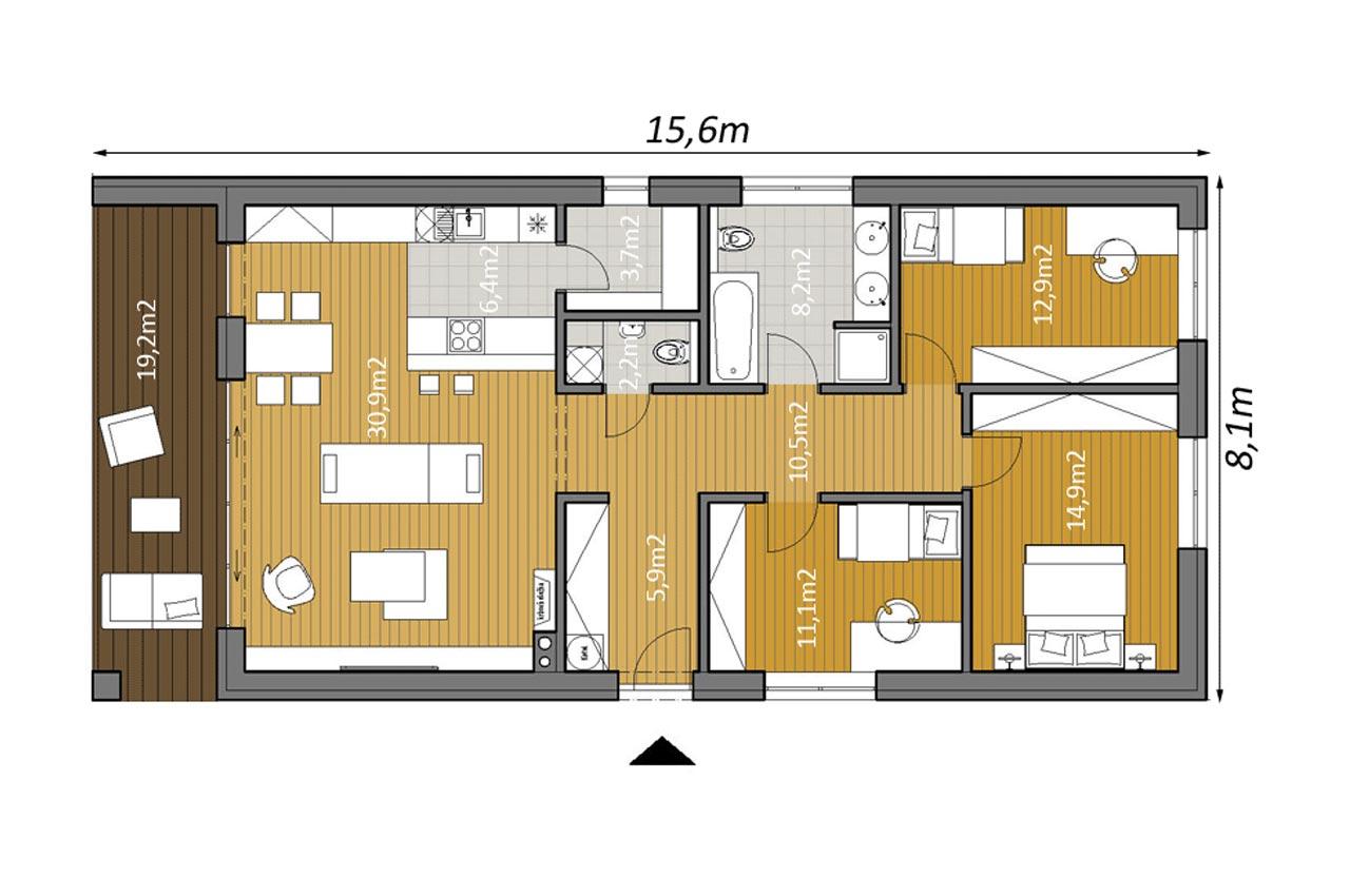 Проект одноэтажного дома 107м2 К-1107802 чертеж
