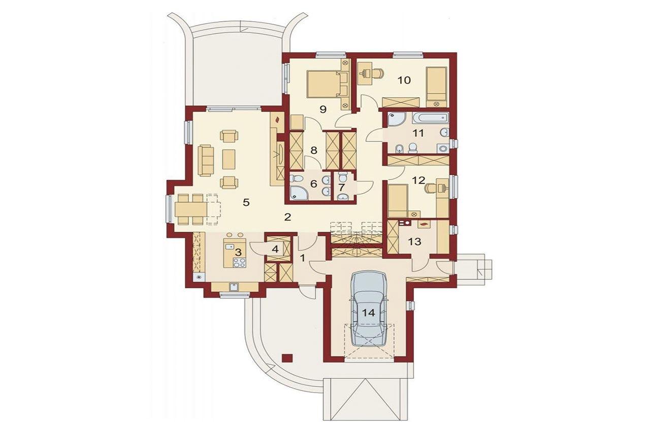 Проект одноэтажного дома 162 м2, Вид -4