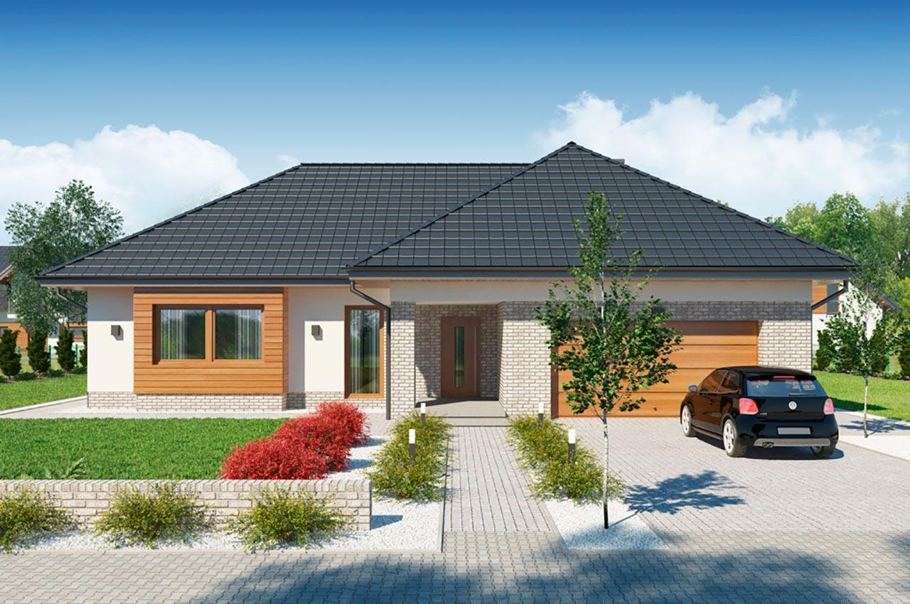 Проект одноэтажного дома с мансардой и гаражом 323 кв м К-121724