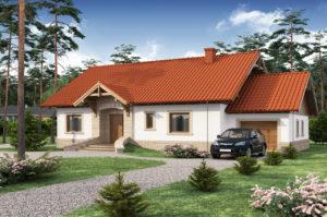 Проект дома  16 на 12 в 1 этаж с гаражом и мансардой 219 м2, чертеж и фото, К-121917
