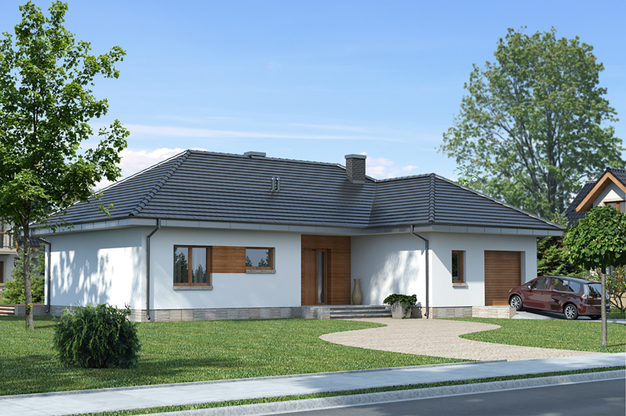 Проект 1 этажного дома  с гаражом и мансардой, 240 м2, чертеж и фото, K124018