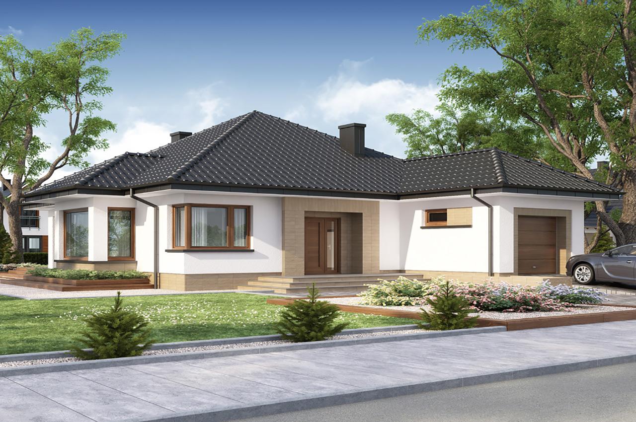 Дизайн проект одноэтажного дома 265 м2 с мансардой и гаражом, чертеж и фото, К-126519