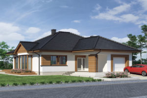 Проект дома 14х19 в 1 этаж включая мансарду и гараж 296 м2, K-129622