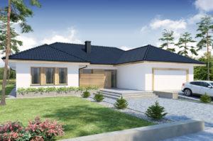 Дизайн проект одноэтажного дома с мансардой и гаражом, площадью 290 м2,  К-129021