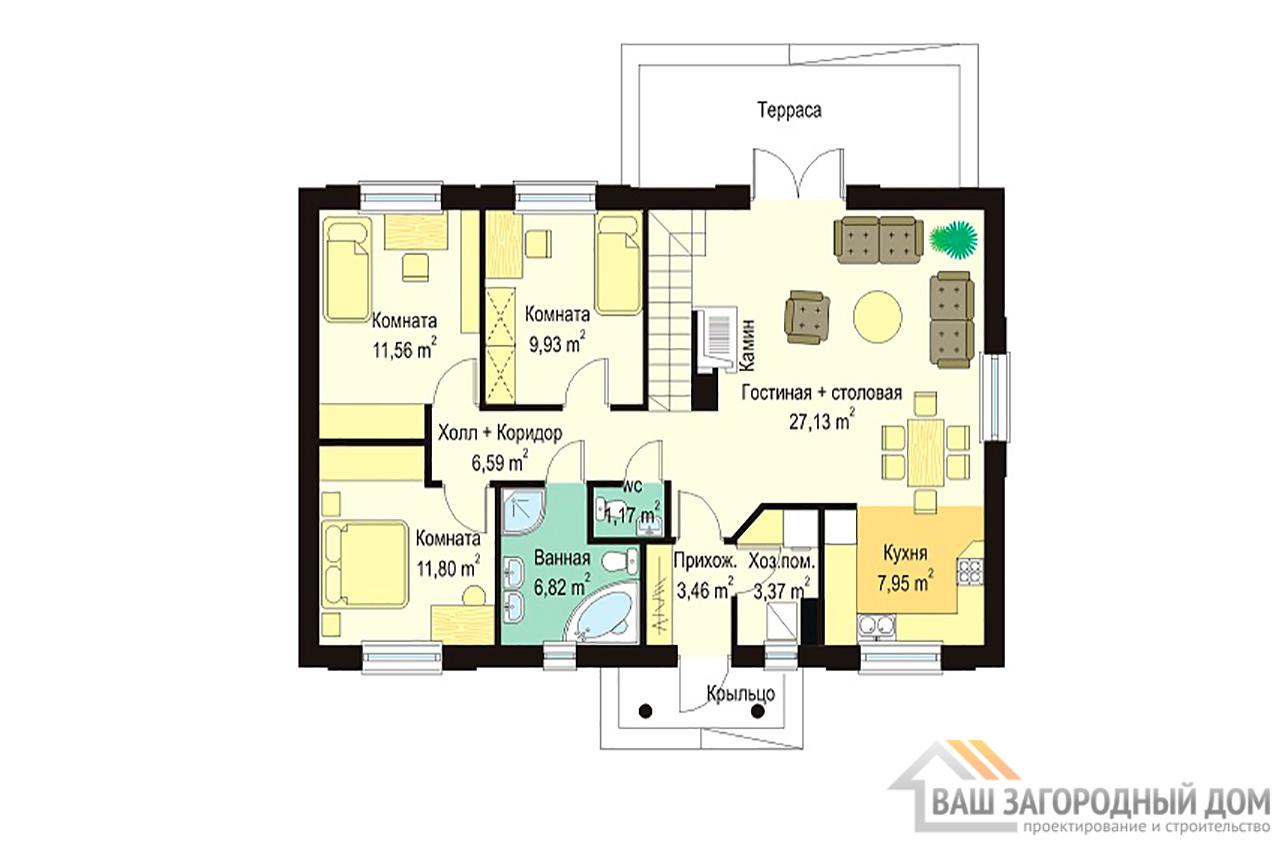 Типовой проект одноэтажного дома площадью 133м2 вид 2