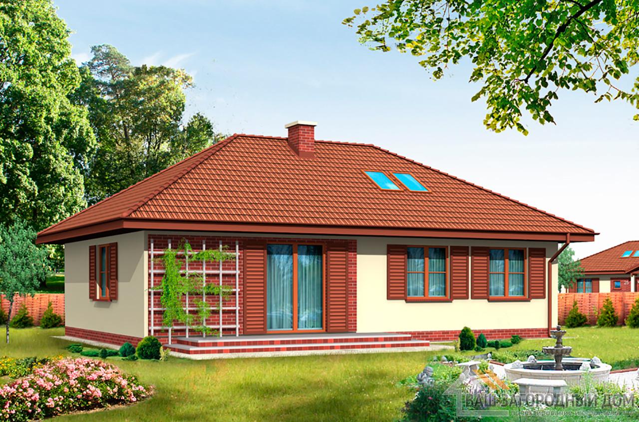 Типовой проект одноэтажного дома площадью 133м2 вид 4