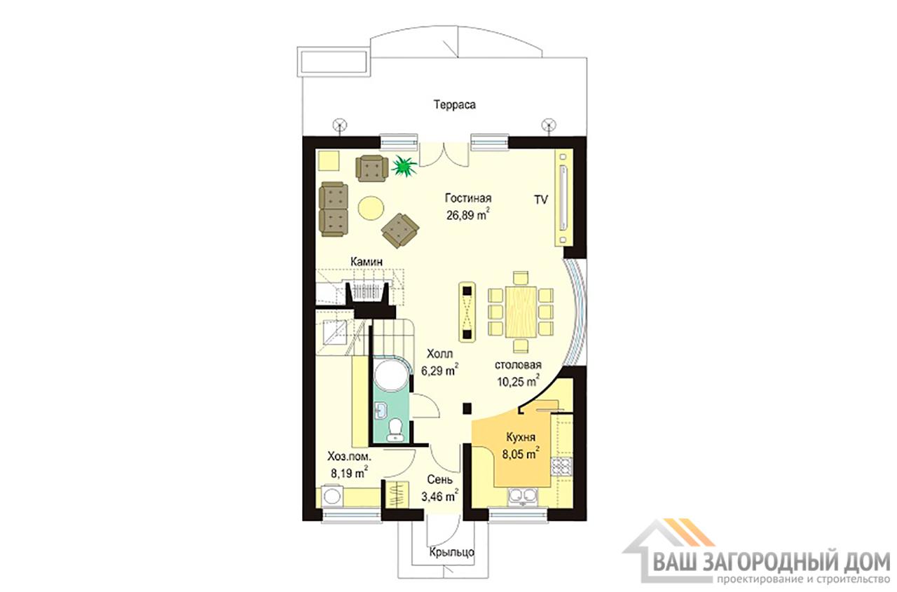 Проект дома в один этаж с мансардой площадью 160м2  вид 3