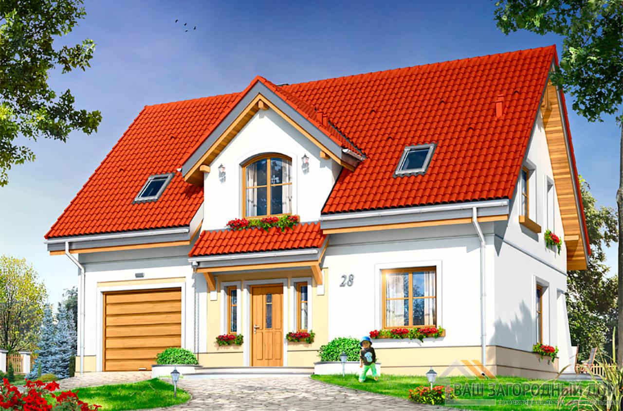 Проект одноэтажного дома с мансардой и гаражом площадью 192 м2