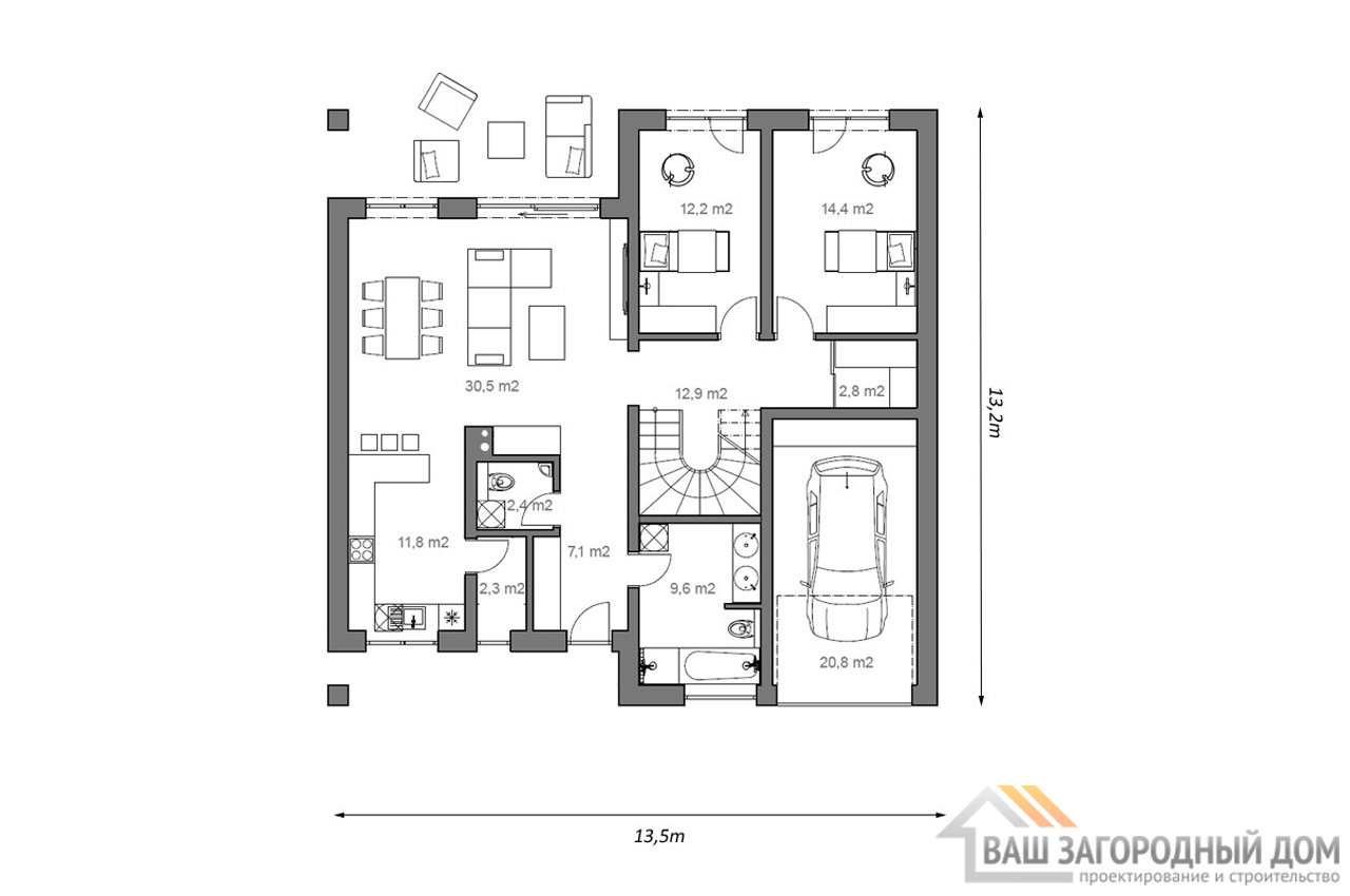Проект одноэтажного дома 178м2 с мансардой и гаражом чертеж 1 этажа