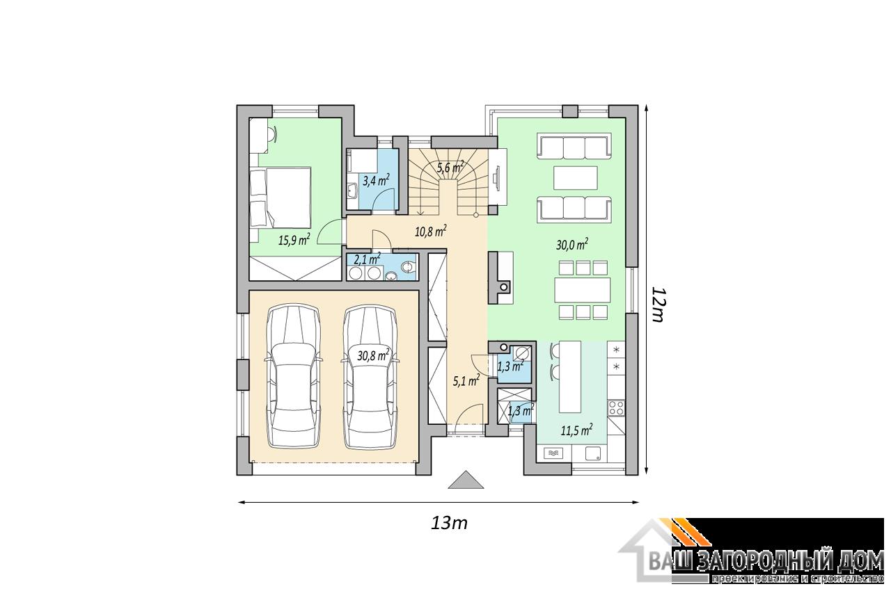 Проект 2 этажного дома 163м2 чертеж 1 этажа