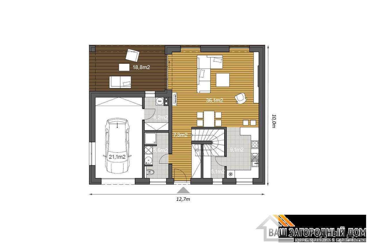 Проект 2 этажного дома 175 м2 с гаражом чертеж 1 этажа