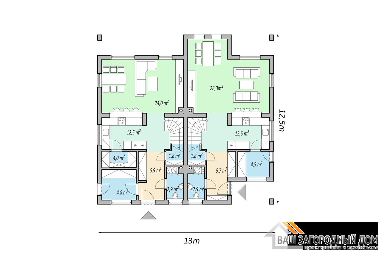 Проект 2 этажного дома 240м2 чертеж 1 этажа