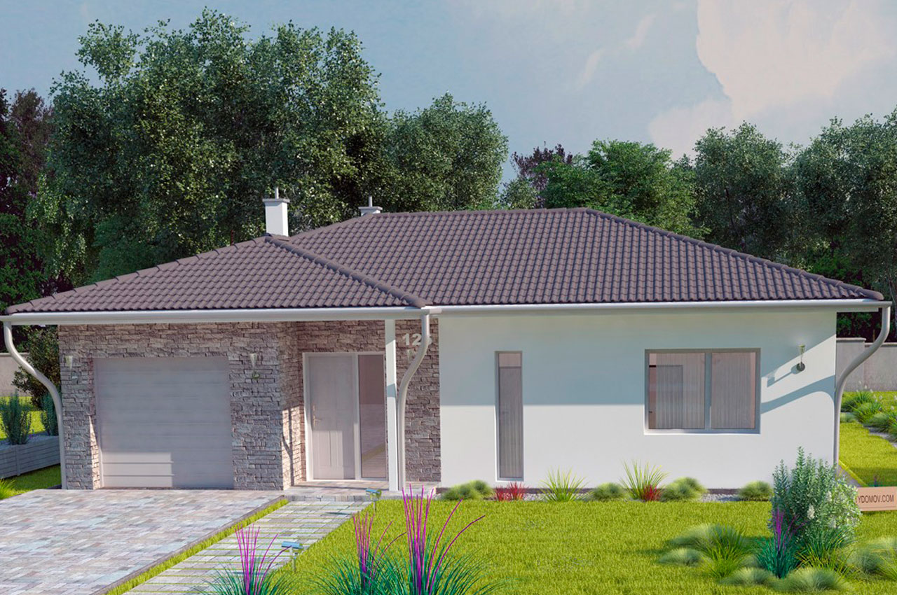 Проект одноэтажного дома с гаражом 126 м2 К112694