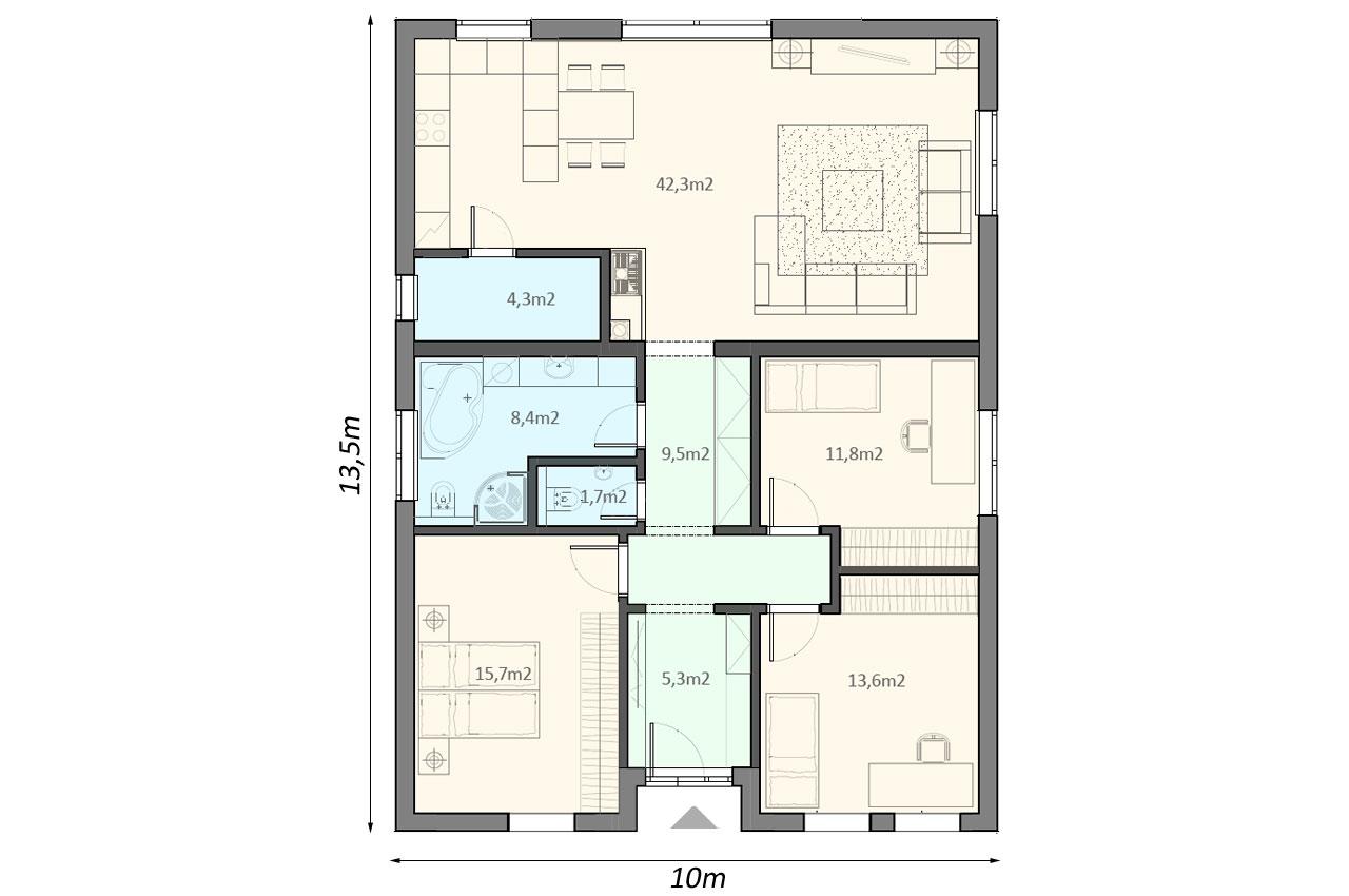 Проект одноэтажного дома 113м2 чертеж