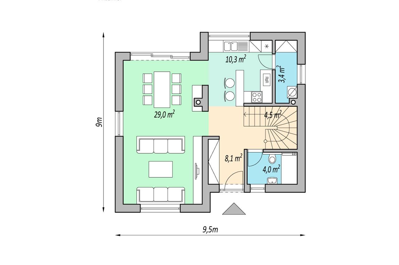 Проект 2 этажного дома 121 м2 К212190 чертеж 1 этажа