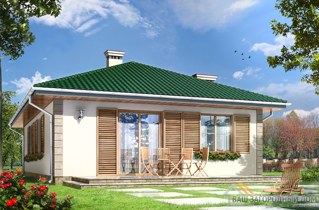 Проект  одноэтажного строения  площадью 102 м2  вид 5