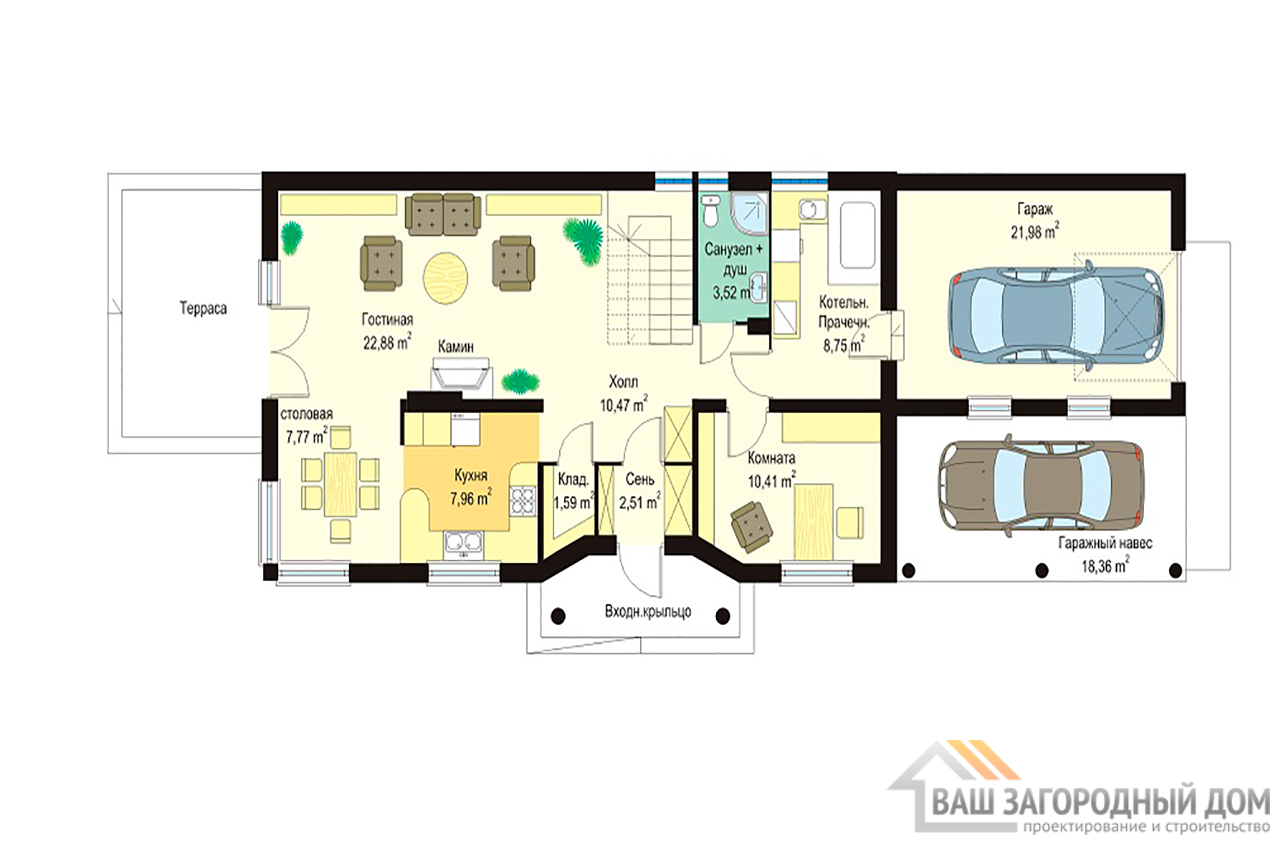 Проект дома в один этаж с мансардой площадью 212 м2  для узкого участка вид 2