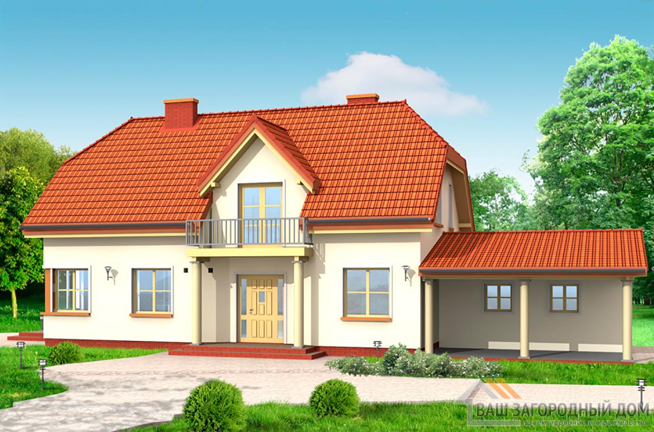 Проект дома в один этаж с мансардой площадью 212 м2  для узкого участка