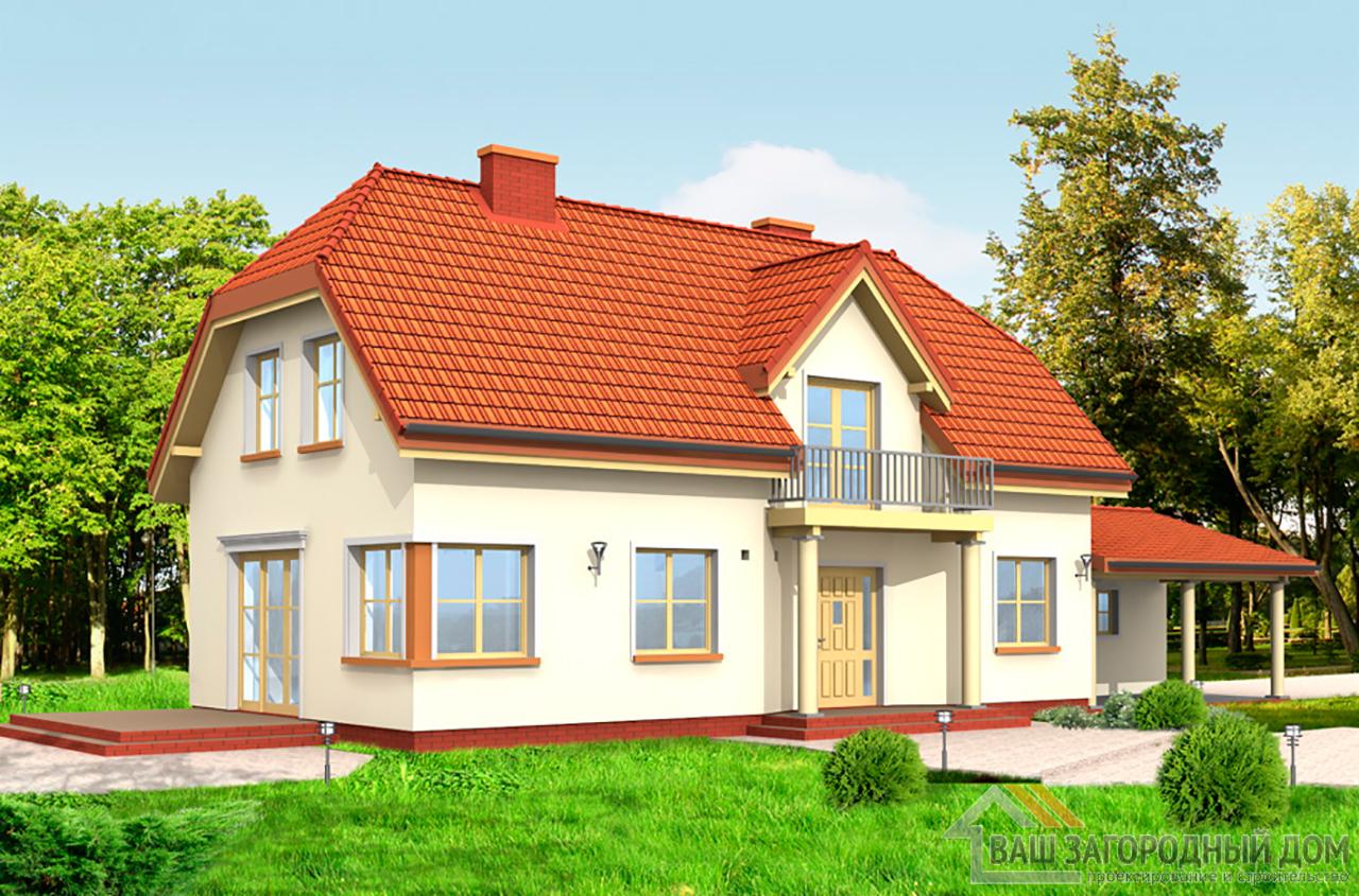Проект дома в один этаж с мансардой площадью 212 м2  для узкого участка вид 5