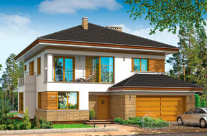 Проект двухэтажного дома с четырехскатной крышей площадью 294 м2 + гараж