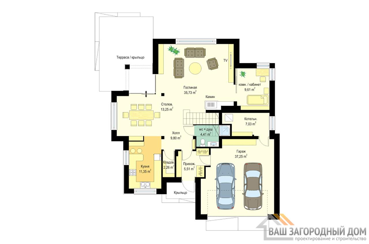 Проект двухэтажного дома с четырехскатной крышей площадью 294 м2 + гараж вид 5