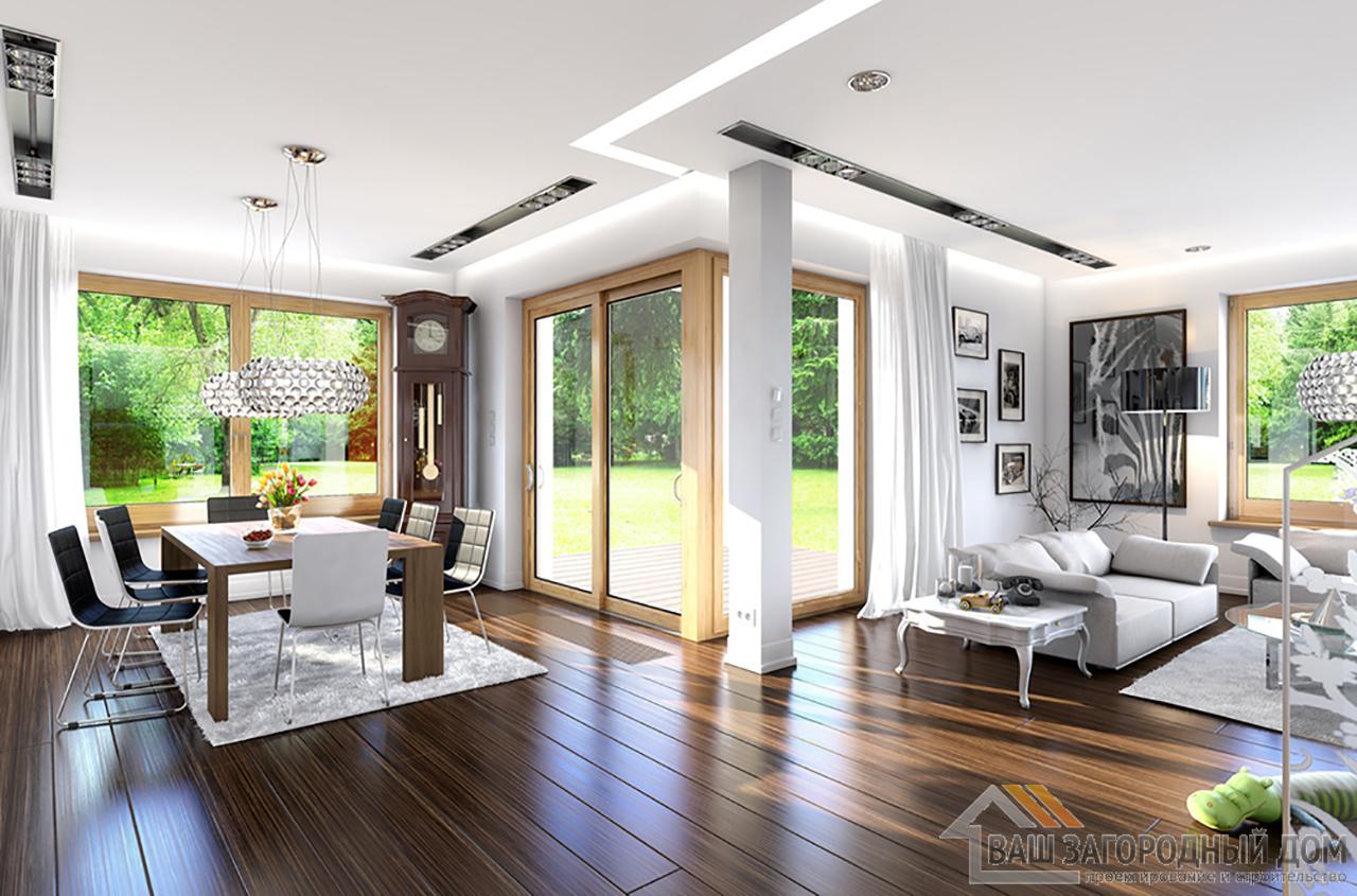 Проект двухэтажного дома с четырехскатной крышей площадью 294 м2 + гараж вид 6